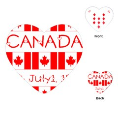 Canada Day Maple Leaf Canadian Flag Pattern Typography  Playing Cards (heart)