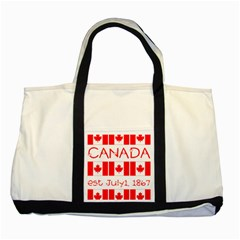 Canada Day Maple Leaf Canadian Flag Pattern Typography  Two Tone Tote Bag