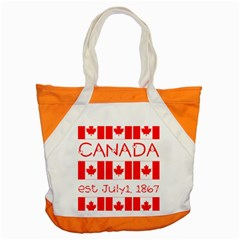 Canada Day Maple Leaf Canadian Flag Pattern Typography  Accent Tote Bag