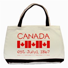 Canada Day Maple Leaf Canadian Flag Pattern Typography  Basic Tote Bag (two Sides)