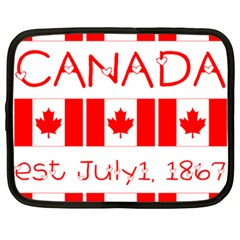 Canada Day Maple Leaf Canadian Flag Pattern Typography  Netbook Case (large)