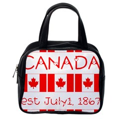 Canada Day Maple Leaf Canadian Flag Pattern Typography  Classic Handbags (one Side)