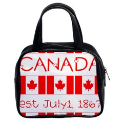 Canada Day Maple Leaf Canadian Flag Pattern Typography  Classic Handbags (2 Sides)