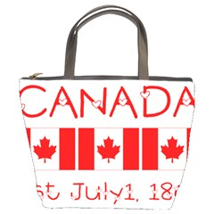 Canada Day Maple Leaf Canadian Flag Pattern Typography  Bucket Bags