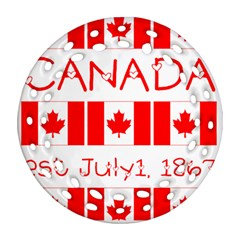 Canada Day Maple Leaf Canadian Flag Pattern Typography  Ornament (round Filigree)