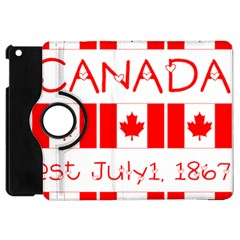 Canada Day Maple Leaf Canadian Flag Pattern Typography  Apple Ipad Mini Flip 360 Case
