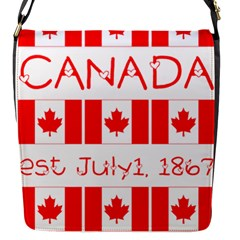Canada Day Maple Leaf Canadian Flag Pattern Typography  Flap Messenger Bag (s)