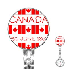 Canada Day Maple Leaf Canadian Flag Pattern Typography  Stainless Steel Nurses Watch