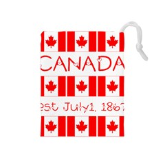 Canada Day Maple Leaf Canadian Flag Pattern Typography  Drawstring Pouches (medium)
