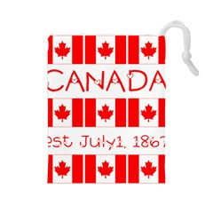 Canada Day Maple Leaf Canadian Flag Pattern Typography  Drawstring Pouches (large)