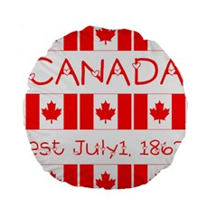 Canada Day Maple Leaf Canadian Flag Pattern Typography  Standard 15  Premium Flano Round Cushions by yoursparklingshop