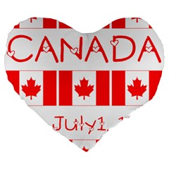Canada Day Maple Leaf Canadian Flag Pattern Typography  Large 19  Premium Flano Heart Shape Cushions