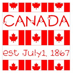 Canada Day Maple Leaf Canadian Flag Pattern Typography  Large Satin Scarf (square)