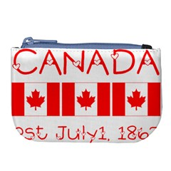 Canada Day Maple Leaf Canadian Flag Pattern Typography  Large Coin Purse