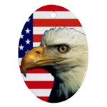 US Eagle Flag - Oval Ornament (Two Sides)
