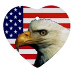 US Eagle Flag - Heart Ornament (Two Sides)