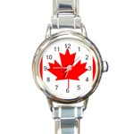 Canada Flag -  Round Italian Charm Watch