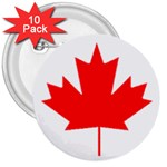 Canada Flag -  3  Button (10 pack)