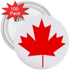 Canada Flag -  3  Button (100 pack)