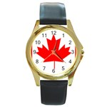 Canada Flag -  Round Gold Metal Watch