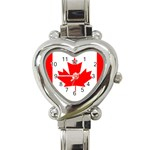Canada Flag -  Heart Italian Charm Watch