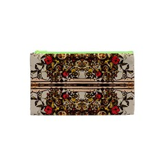 Roses Floral Wallpaper Flower Cosmetic Bag (xs)