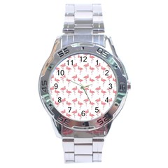 Pink Flamingo Pattern  Stainless Steel Analogue Watch