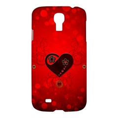Wonderful Heart On Vintage Background Samsung Galaxy S4 I9500/i9505 Hardshell Case by FantasyWorld7