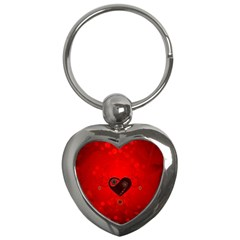 Wonderful Heart On Vintage Background Key Chains (heart)