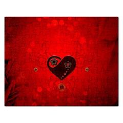 Wonderful Heart On Vintage Background Rectangular Jigsaw Puzzl