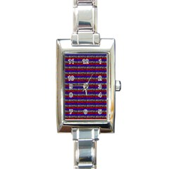 French Revolution Typographic Pattern Design 2 Rectangle Italian Charm Watch by dflcprints