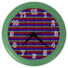 French Revolution Typographic Pattern Design 2 Color Wall Clock