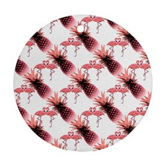 Flamingo Pineapple Tropical Pink Pattern Ornament (round)