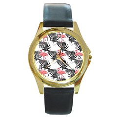 Pink Flamingos Palmetto Fronds Tropical Pattern Round Gold Metal Watch by CrypticFragmentsColors