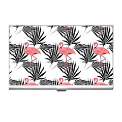 Pink Flamingos Palmetto Fronds Tropical Pattern Business Card Holders