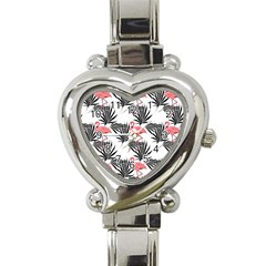 Pink Flamingos Palmetto Fronds Tropical Pattern Heart Italian Charm Watch