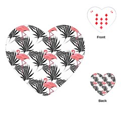 Pink Flamingos Palmetto Fronds Tropical Pattern Playing Cards (heart)