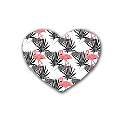 Pink Flamingos Palmetto Fronds Tropical Pattern Heart Coaster (4 Pack)  by CrypticFragmentsColors