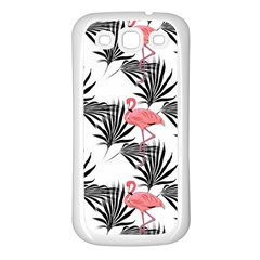 Pink Flamingos Palmetto Fronds Tropical Pattern Samsung Galaxy S3 Back Case (white) by CrypticFragmentsColors
