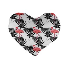 Pink Flamingos Palmetto Fronds Tropical Pattern Standard 16  Premium Flano Heart Shape Cushions by CrypticFragmentsColors