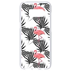 Pink Flamingos Palmetto Fronds Tropical Pattern Samsung Galaxy S8 White Seamless Case