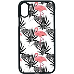 Pink Flamingos Palmetto Fronds Tropical Pattern Apple Iphone X Seamless Case (black)