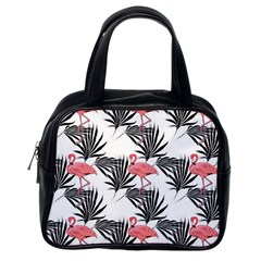 Pink Flamingos Palmetto Fronds Tropical Pattern Classic Handbags (one Side)