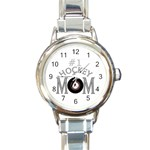 #1 HOCKEY MOM MOTHER ROUND ITALIAN CHARM WATCH