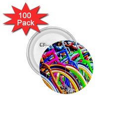 Colorful Bicycles In A Row 1 75  Buttons (100 Pack)