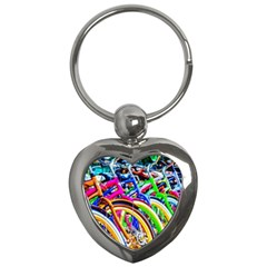 Colorful Bicycles In A Row Key Chains (heart)  by FunnyCow