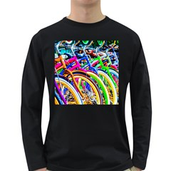 Colorful Bicycles In A Row Long Sleeve Dark T Shirts