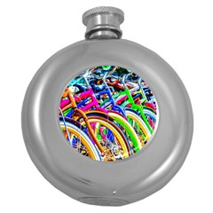 Colorful Bicycles In A Row Round Hip Flask (5 Oz)