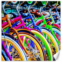 Colorful Bicycles In A Row Canvas 12  X 12
