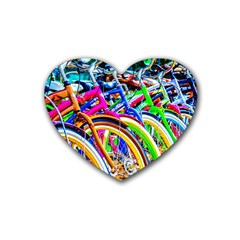 Colorful Bicycles In A Row Rubber Coaster (heart)